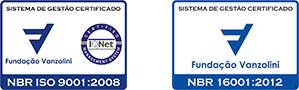 Selos NBR ISO 9001 e NBR 16001